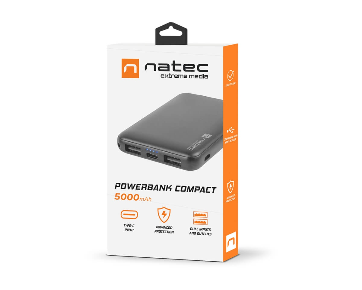 Powerbank Compact Type-C 5000mAh Black in the group Mobile Accessories / Powerbank at MaxGaming (14206)