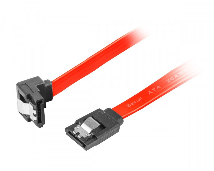 SATA 2 Angled (3GB/S) 30cm Metal Clips - Red in the group PC Peripherals / Computer components / Internal cables at MaxGaming (15132)